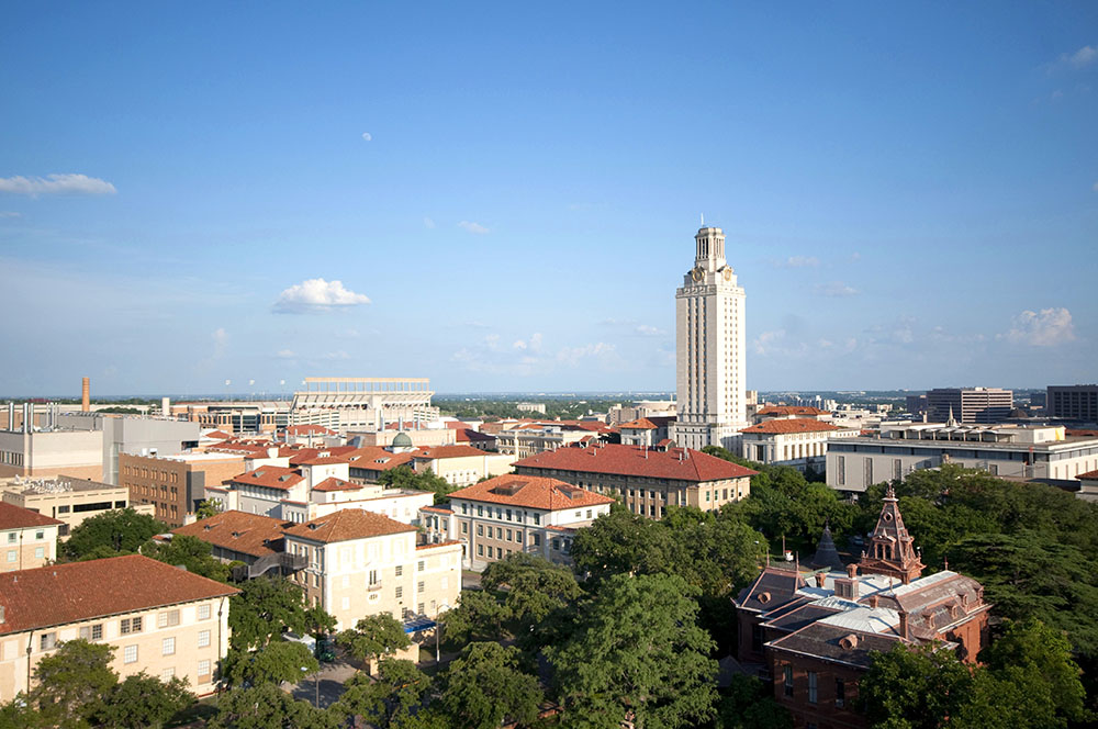 ut main tower view over campus
